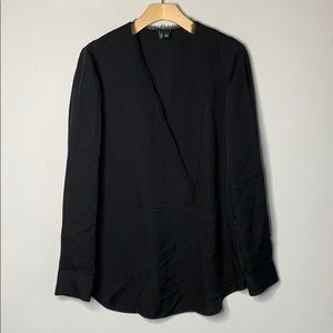 Theory Silk Ramalla Top Black V-Neck Blouse